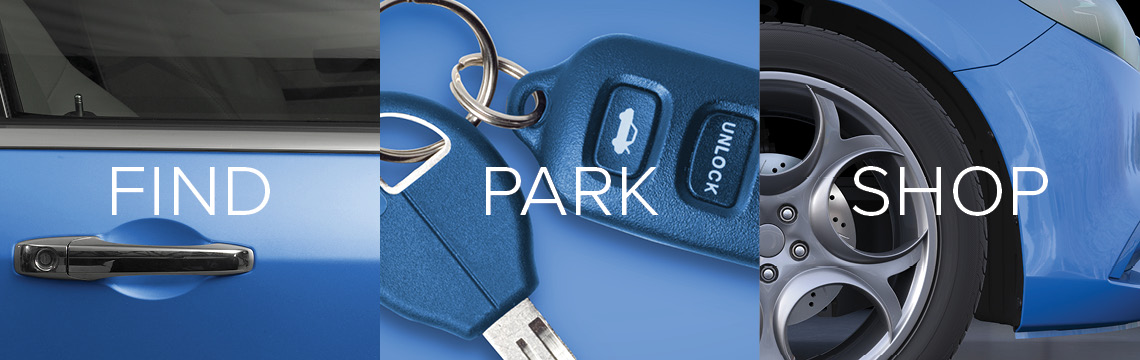 Images of blue car door, blue car keys, blue car wheel with Find, Park, Shop written across in white text
